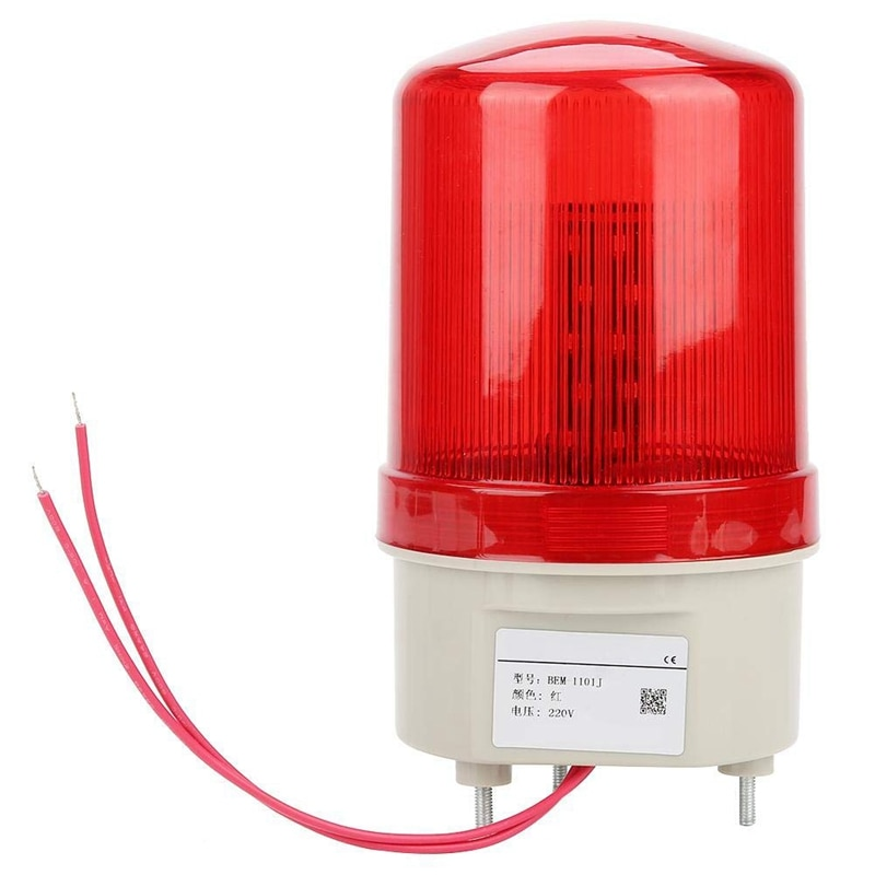 AMS-luz de alarma de sonido intermitente Industrial, BEM-1101J luces de advertencia LED rojas de 220V sistema de alarma acústica-óptica luz giratoria Emerge