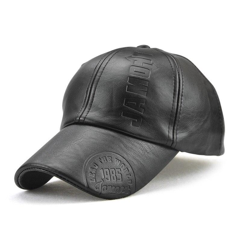 JAMONT gorra de invierno al aire libre PU Gorra de béisbol de cuero hombres Snapback sombrero Casquette Gorras Para Hombre gorra Pico-Negro