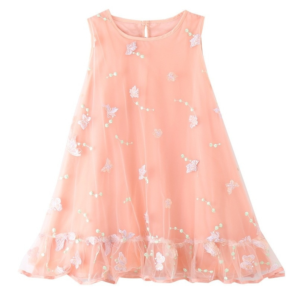 Summer Girls' Dress Girls Butterfly Sling Mesh Dress Girls Ballet Dance Party Princess Dress