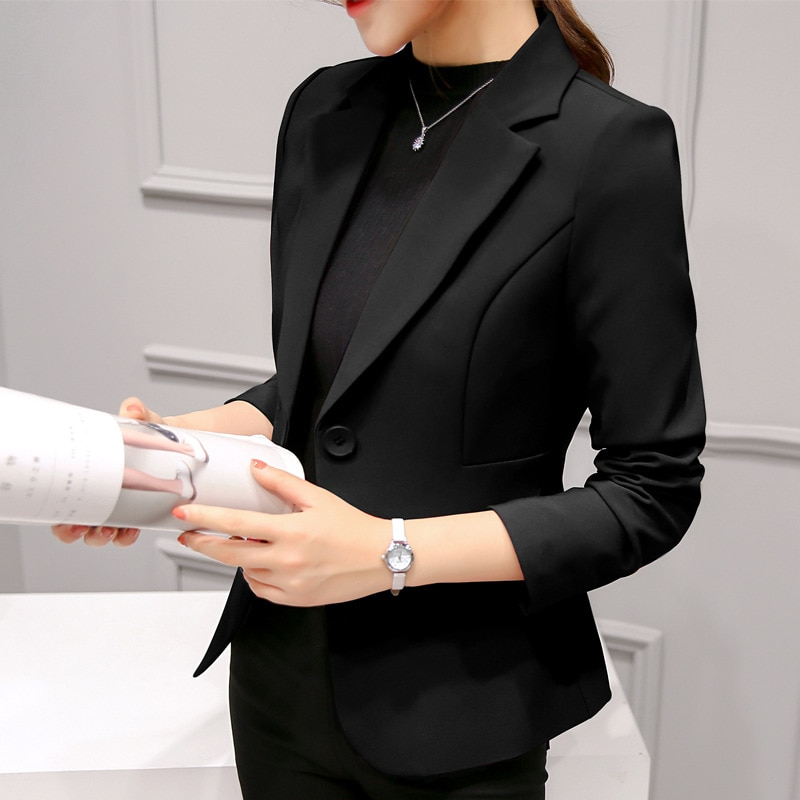 Black Women Blazer 2020 Formal Blazers Lady Office Work Suit Pockets Jackets Coat Slim Black Women Blazer Femme Jackets Femme