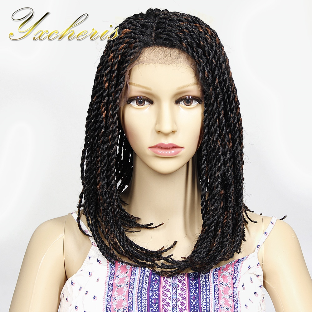 """YXCHERISHAIR Ombre Synthetic Senegalese Twist Lace Front Wigs 16"""" Black Brown Crochet Braided Wig for Women Party Wigs"""