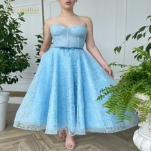 Blue Lace Strapless Neck Prom Dresses A-Line Sleeveless Anke Length Zipper Bows Sash Evening Gowns R