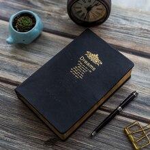 Rétro épaissir Portable carnet noir Bible Journal papeterie Journal cadeau 208 feuilles or jante balle blanc Journal carnet de croquis