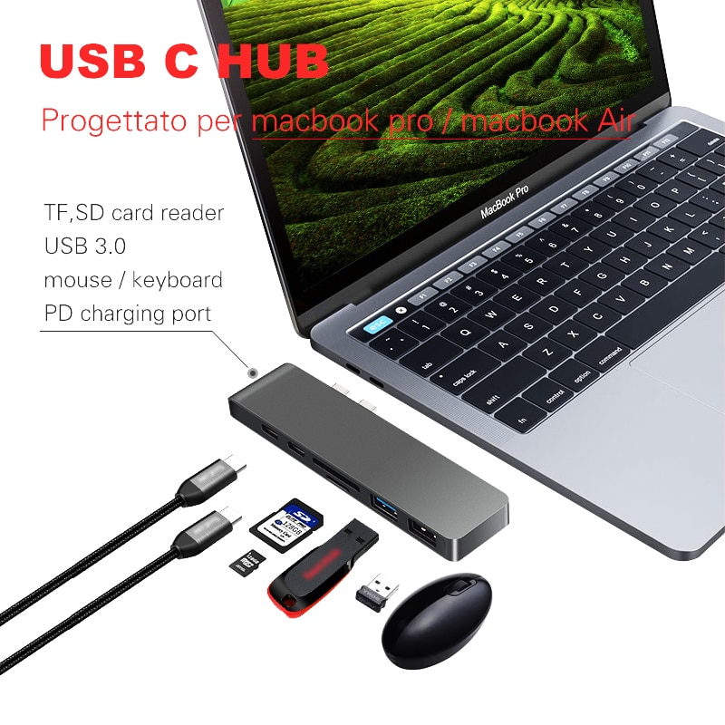 Lungfish USB C HUB 6 в 1 Type C Thunderbolt 3 адаптер USB-C док-ключ PD USB 3,0 SD TF кардридер для MacBook Pro Air