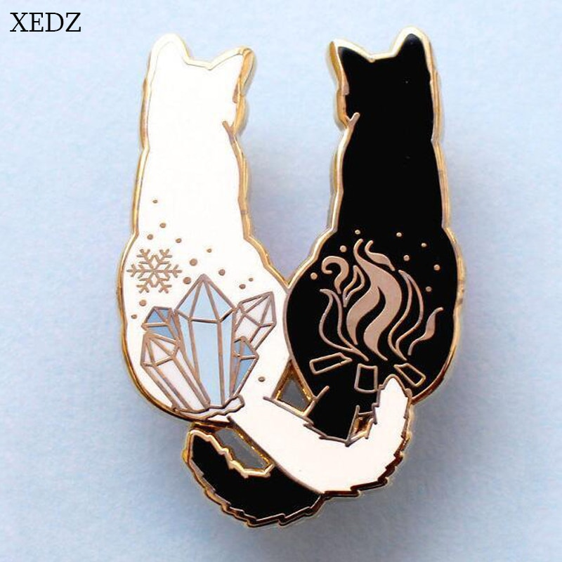 AliExpress - XEDZ New cute cat back brooch black cat white cat side by side brooch child cute animal brooch gift backpack clothing pendant je