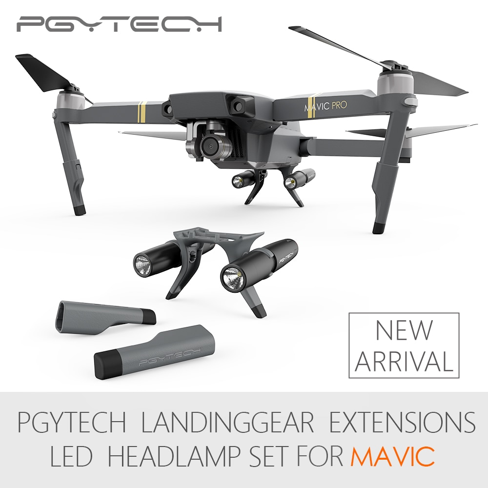 Nueva llegada PGYTECH Mavic Pro extensiones de tren de aterrizaje conjunto de luces LED para DJI Mavic Pro (sin baterías)