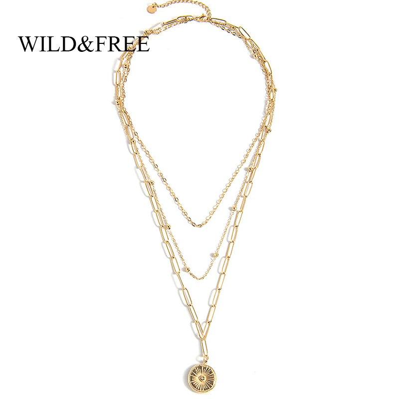 Wild & Free для женщин многослойное ожерелье ювелирные изделия из нержавеющей стали золото звено цепи ожерелье с круглой подвеской, старинные ювелирные изделия вечерние подарок