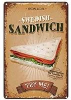 metal tin sign swedish sandwich decor bar pub home decoration retro vintage coffee tin poster