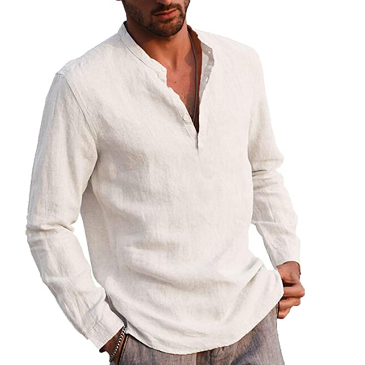 قميص من القطن والكتان بلون الوقوف طوق قميص طويل الأكمام الذكية Casua
