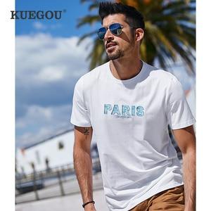 Kuegou cotton elastic Men's  tshirt short sleeve  Male geometric T-shirt summer t shirt men top plus size CT-06325
