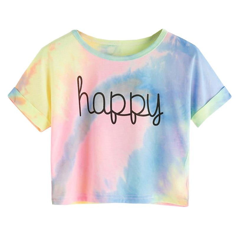 Tie Dye T-Shirts Tops Kids Casual Girls Happy Letter Printed Children tshirt 2020 Summer tshirt for woman Short Sleeve Tees