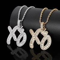hip hop bling iced out cubic zircon xo english letters pendants necklaces copper necklace for men jewelry with chain