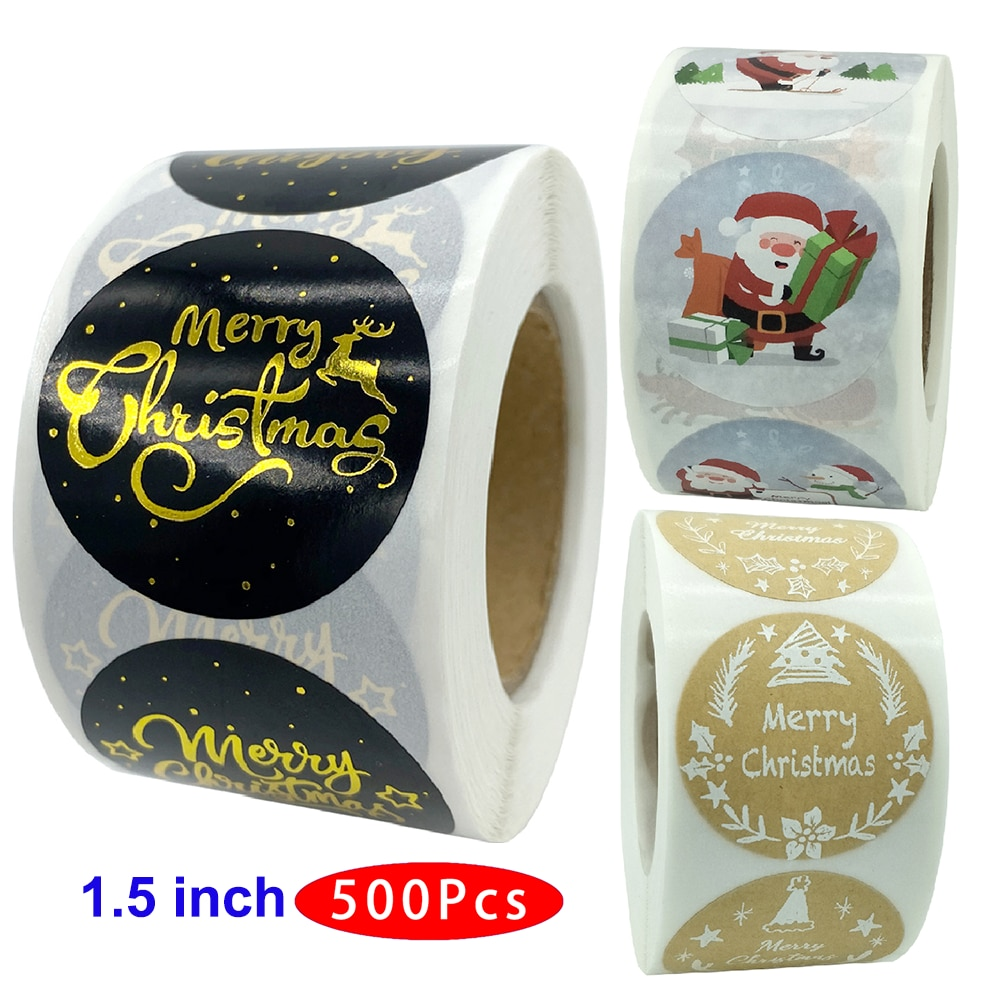 1.5inch 500Pcs/Roll Korean Cute Merry Christmas Stickers Skull Thank You Aesthetic Scrapbooking Material Post Gift Seal Label