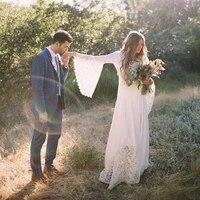boho wedding dress lace chiffon long flare sleeve v neck elegant bohemian outdoor wedding bridal gowns vestido de noiva