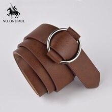 NO.ONEPAUL جودة حقيقية السيدات موضة أحدث إبرة خالية معدنية مستديرة مشبك حزام الجينز العلامة التجارية الفاخرة البرية حزام المرأة ل