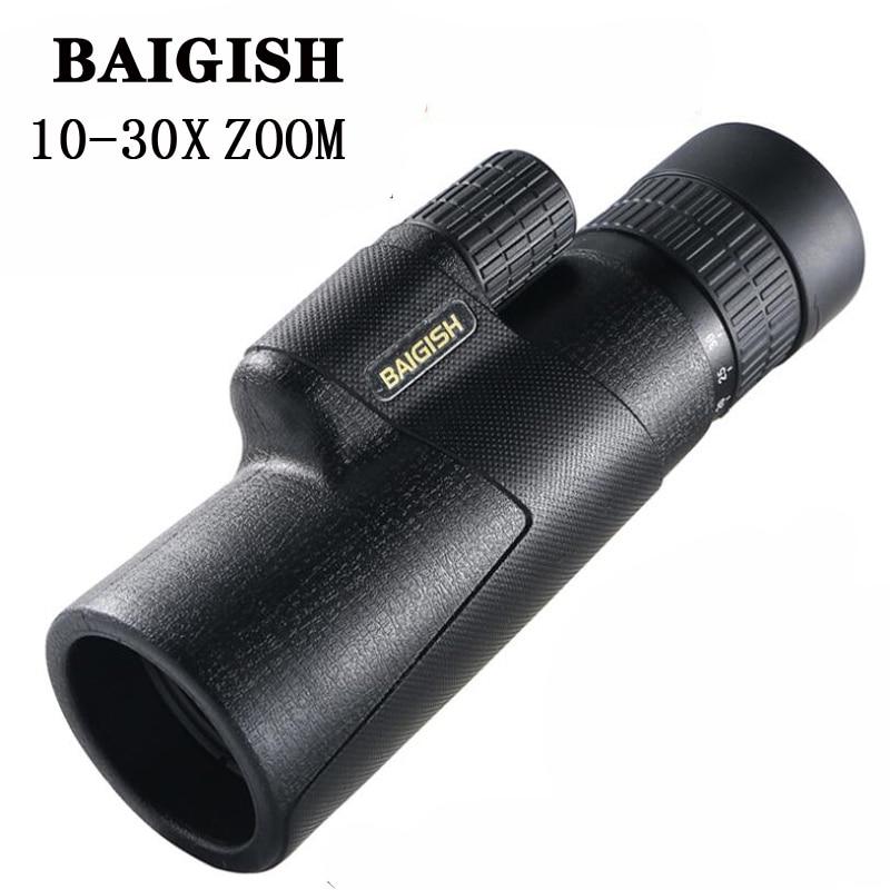 Baigish Zoom 10-30X42 telescopio Monocular militar HD BAK4 prisma binoculares de alta potencia francotirador Spyglass para campo de caza al aire libre