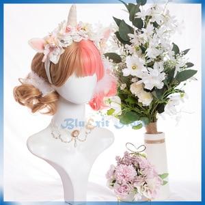 Mixed Brown Pink Lolita Wig Harajuku Sakura Sweet Short Curly Synthetic Hair Fringe Bangs Adult Girls Cosplay Hair