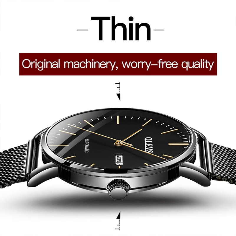 OLEVS New Men Luxury Automatic Mechanical Waterproof Dimensional Dial Dual Calendar Wear Wresistant Stainless Steel Watches 5882 enlarge