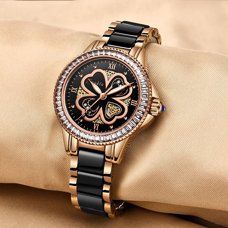 SUNKTA Luxury Brand Women Watches Dress Gifts Diamond Clocks Sport Femme Wrist Watch Bracelet Watches For Women Zegarek Damski enlarge