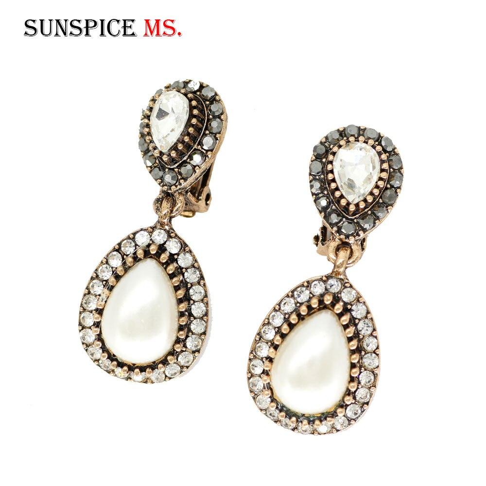 SUNSPICE MS turco pendientes de cristal para las mujeres de Color de oro de imitación de la perla Clip pendiente de joyería de la boda