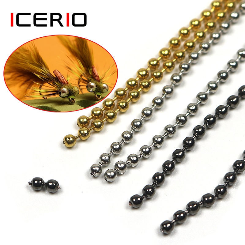ICERIO 45cm/pcs Fly Tying Bead Chain Tying Bead Eyes Metal 2.4mm 3.2mm Fly Fishing Materials icerio 50pcs fly tying brass beads nymph streamer bugs fly hook tying materials