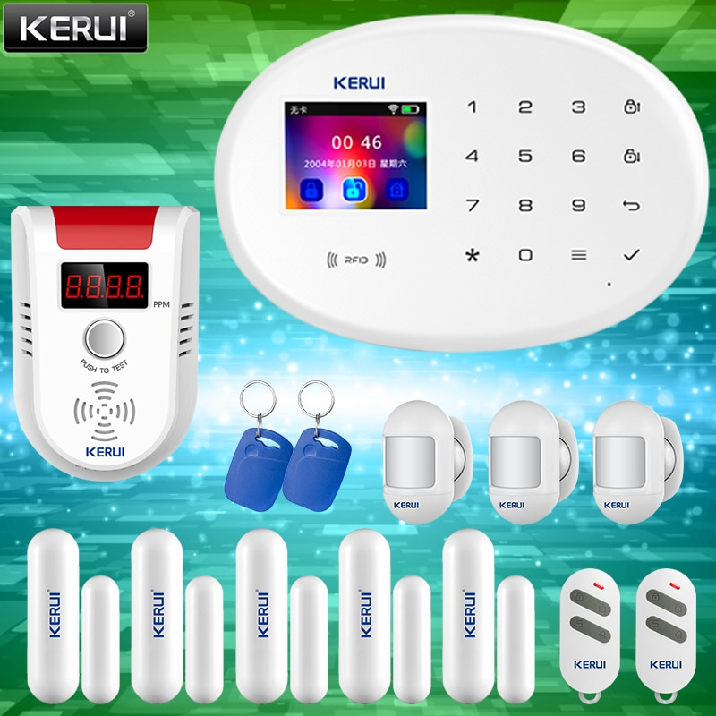KERUI Smart Home Security Alarm System 2.4G WIFI Wireless Network Connection  GSM APP Fortification Color Screen Touch Keyboard