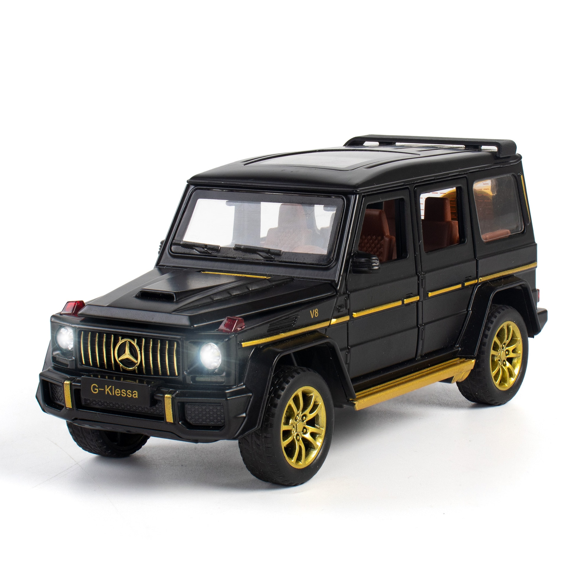1:32 Toy Car Alloy Car Model Diecast Metal Toy Vehicles G63 Sound Light Pull Back Car Door Open For Kids Toy Birthday Gift недорого