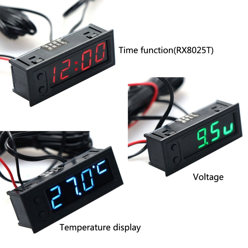 DIY Multifunction High-precision clock inside and outside Car temperature Battery voltage Monitor Pa