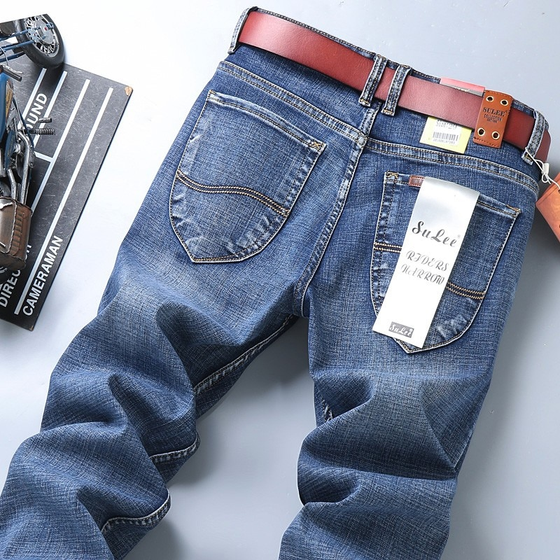 Classic Style Summer Men's Black Jeans Fashion Casual Business Straight Stretch Denim Trousers Male Jeans
