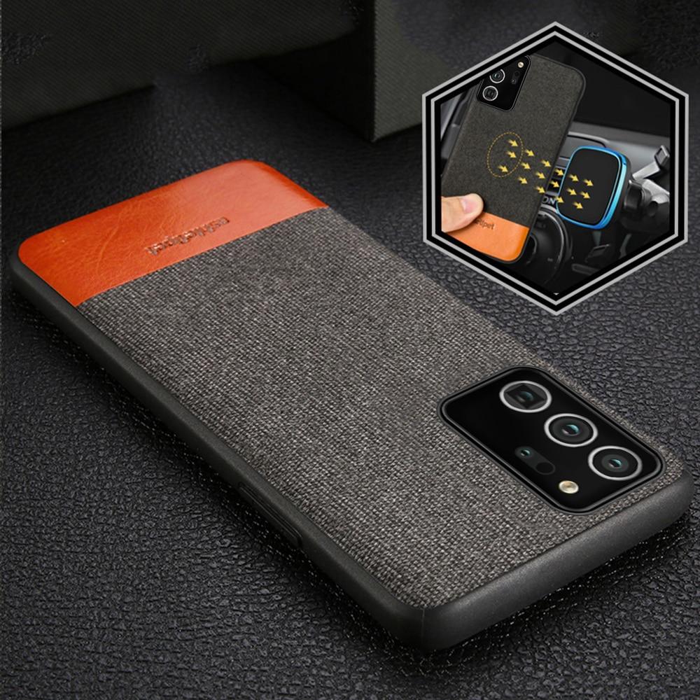 Funda magnética de lona + cuero para teléfono inteligente Samsung Galaxy Note 20 Ultra Note 10 9 8 S9 S20 S10 Plus A50 A51 A70 Note 20 Ultra Note 10 Plus S10 Lite S10E S8 Plus S9 Plus a30s A40 A30 A50S A7 A8 2018