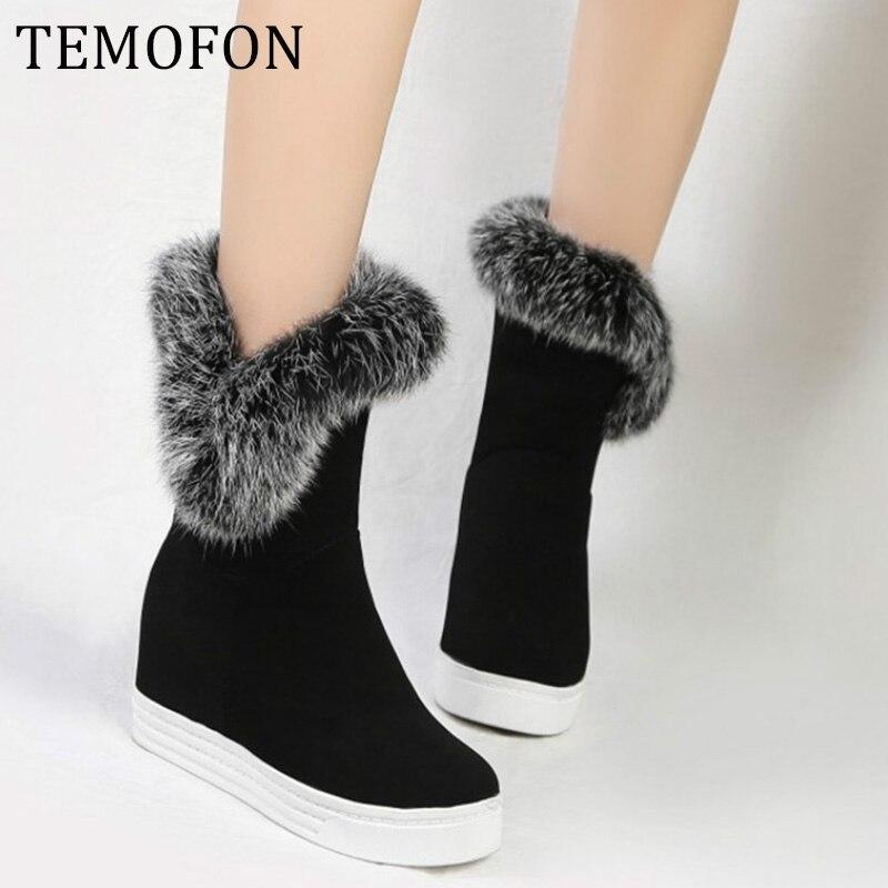 Winter Boots Women Warm Platform Increase Boots Winter Shoes Women Ladies Casual Snow Boots Plus Size 43 Bottes Femme  HVT512