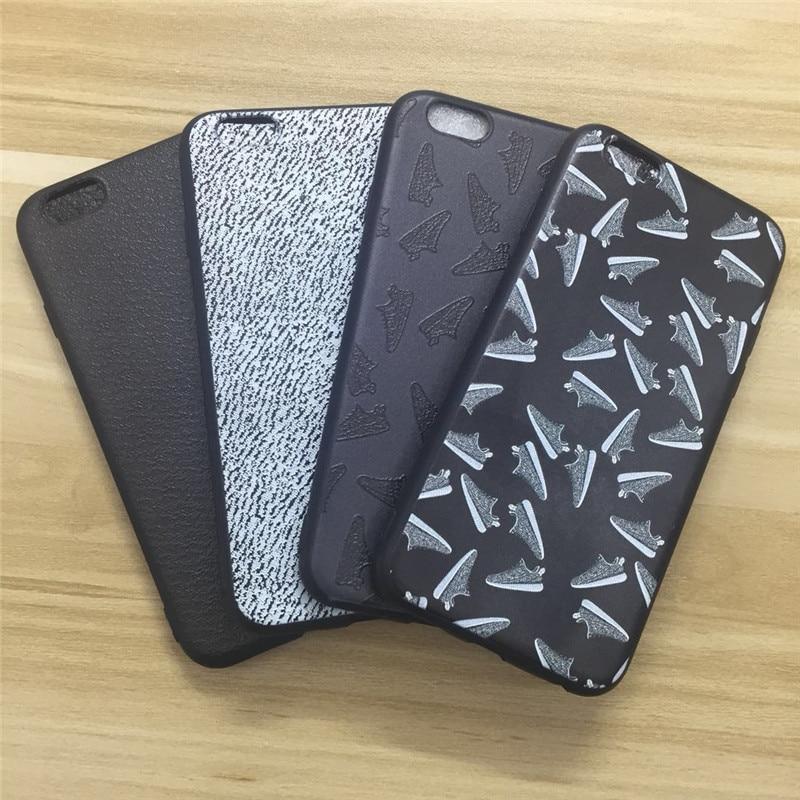 Carcasas de teléfono Agrotera Kanye West Yeezy, funda de TPU negra con relieve 3D para Apple iPhone 5 5s SE 6 6s 7 8 Plus