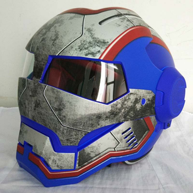 NEUE matte Blau retro MASEI IRONMAN Iron Man helm motorrad helm halb helm open face helm 610 ABS casque motocross