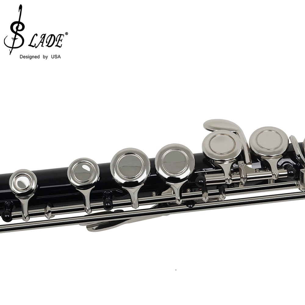 SLADE Black 16 Holes Flute Woodwind Instrument Closed Key Add the E Key C Tone Nickel Plated Concert Flute With Music Case enlarge