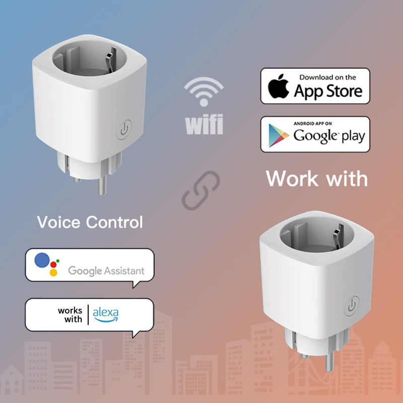 6Pcs EU/FR WiFi Smart Plug Tuya Remote Control Timing Switch For Home Appliances Works With Alexa Google Home Electrical Socket