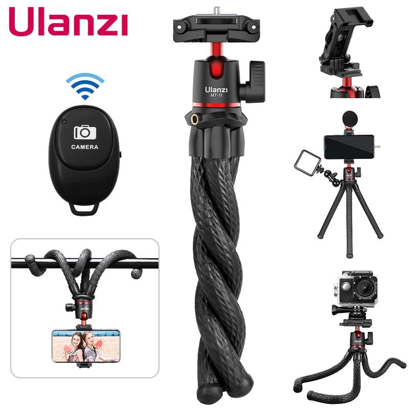 Ulanzi MT-11 Octopus Flexible Tripod For Phone SLR DSLR Camera Tripod Extend 1/4'' Screw With Ballhead Cold Shoe Phone Clip