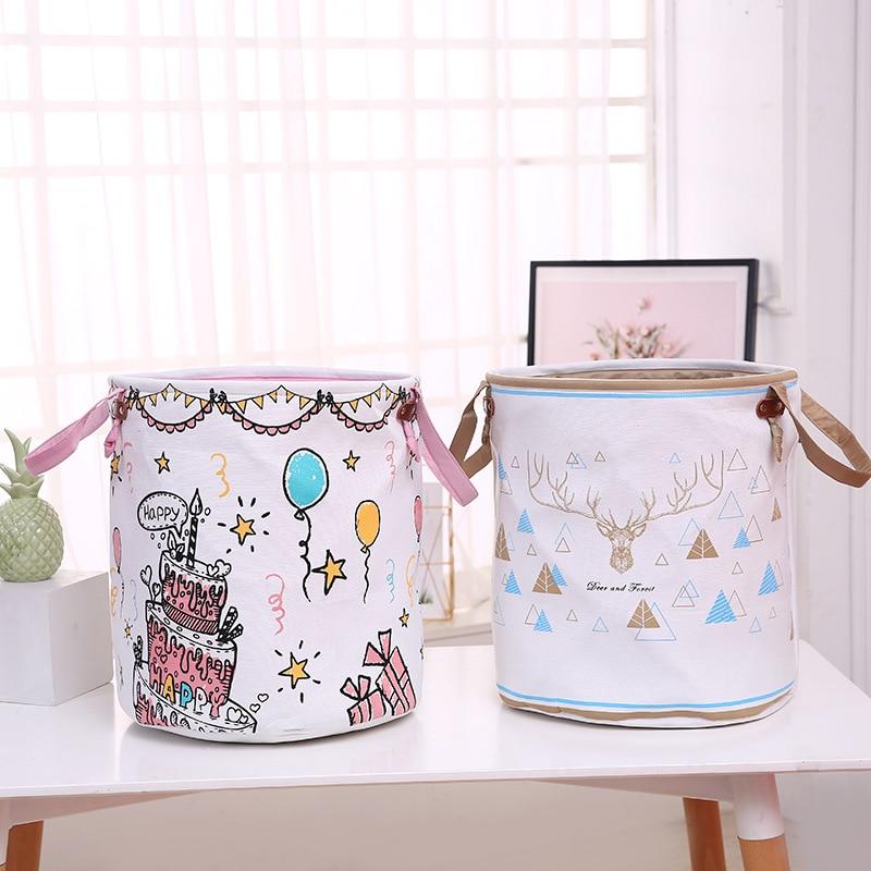 Nuevo cubo de almacenamiento de tela doble gruesa, Cesto redondo pastel de arco iris, juguetes para niños, cesta de almacenaje plegable, almacenamiento de baño