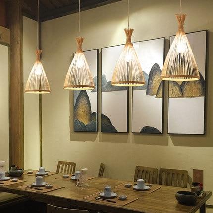 الخيزران المعيشة غرفة الطعام قلادة ضوء تصميم بسيط الخيزران الطبيعي النسيج يدوية تعليق مصباح غرفة نوم مطعم E27