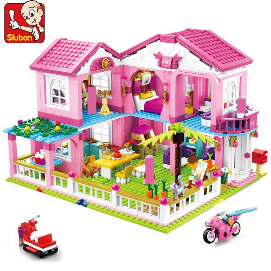 Grand jardin Villa Juguetes maison Brinquedos ville blocs de construction ensembles Yacht bateau château amis briques à monter soi-même jouets éducatifs pour enfants