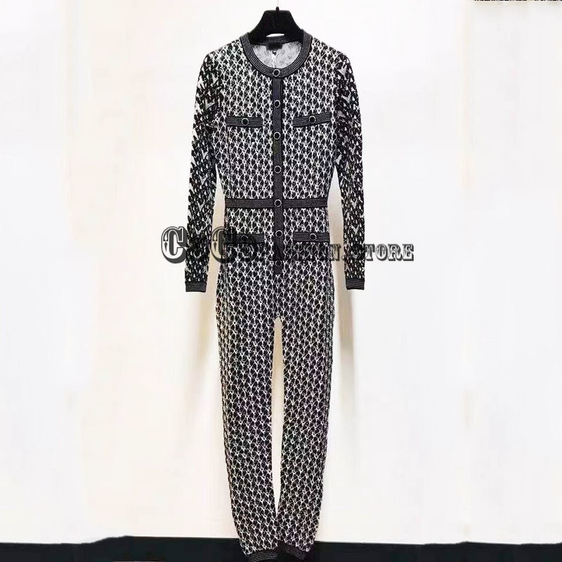 luxury designer new fashion high end 2021 women one piece jumpsuit Single breasted knitted long sleeve slim fits woman Jumpsuits