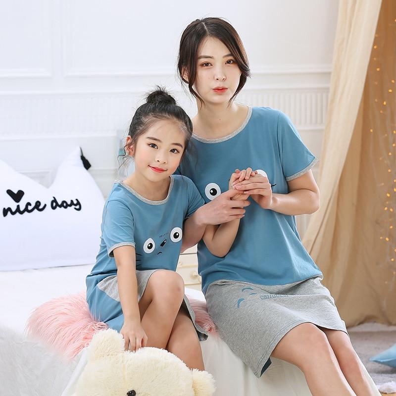 Camisón de algodón 100% para niñas, camisón de verano para niñas, ropa para el hogar para niñas, vestido de noche para madres y niños, ropa de dormir para niñas