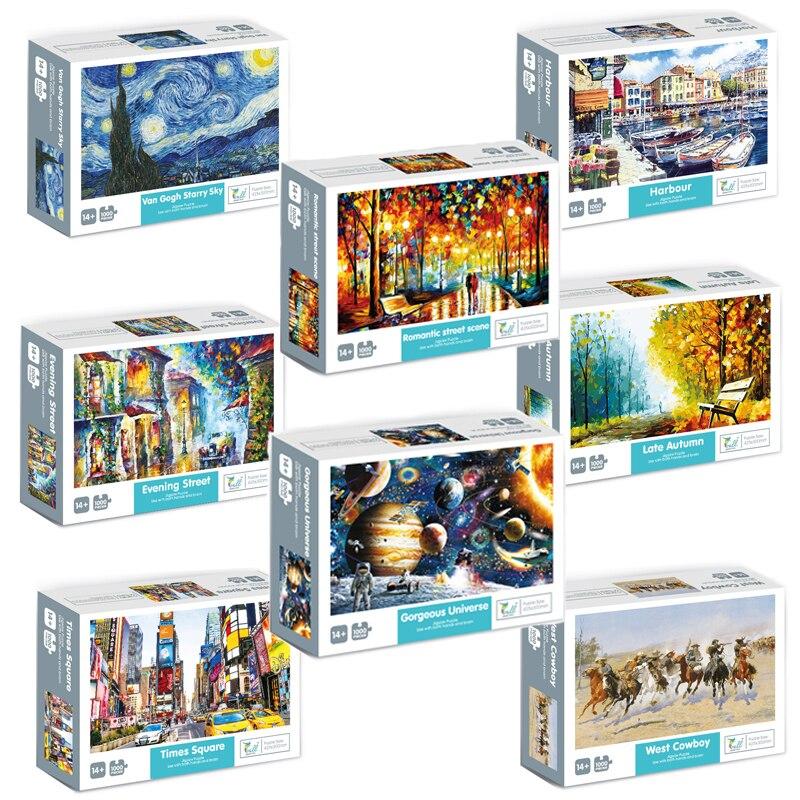 Rompecabezas de papel nuevo de 1000 piezas, rompecabezas de paisaje con imagen de ensamblaje, juguetes para adultos y niños, juegos educativos
