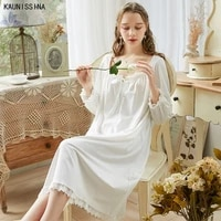 vintage princess nightgown cotton sleepwear womens long nightgowns loose lace nightwear summer autumn elegant home wear dress
