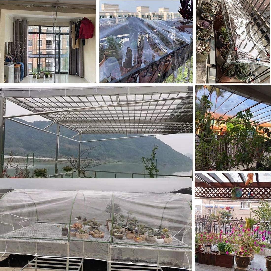 Waterproof Transparent PVC Tarpaulin With Eyelets Weatherproof Foldable 0.35mm Rain Cover Garden Furniture Plants Greenhouse Pet enlarge
