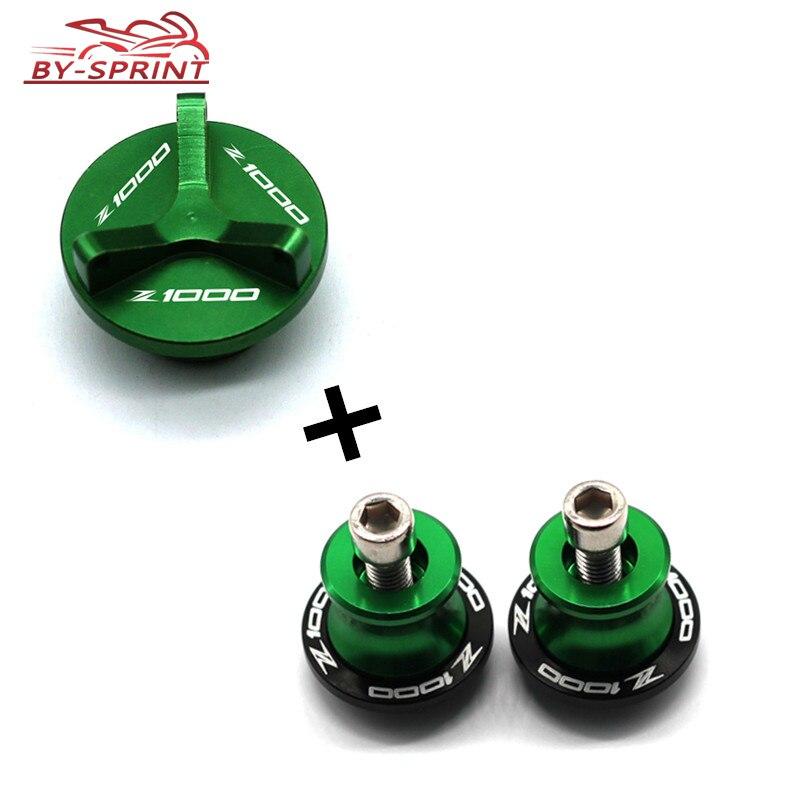 Tapa de tapón para filtro de aceite de motor de motocicleta, tornillos y carretes basculantes, tornillos de soporte, deslizador para Kawasaki Z1000 Z 1000