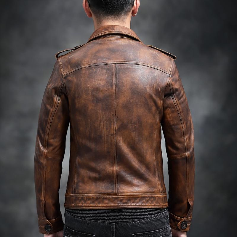 Leather Genuine Jacket Men Real Sheepskin Coat Vintage Slim Fit Short Autumn Motorcycle Men Leather Jackets YC-55 KJ3216