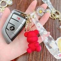 cystal cartoon cute transparent crown bear keychain for women deer doll key ring key chain charm bag car key ring jewelry 2020