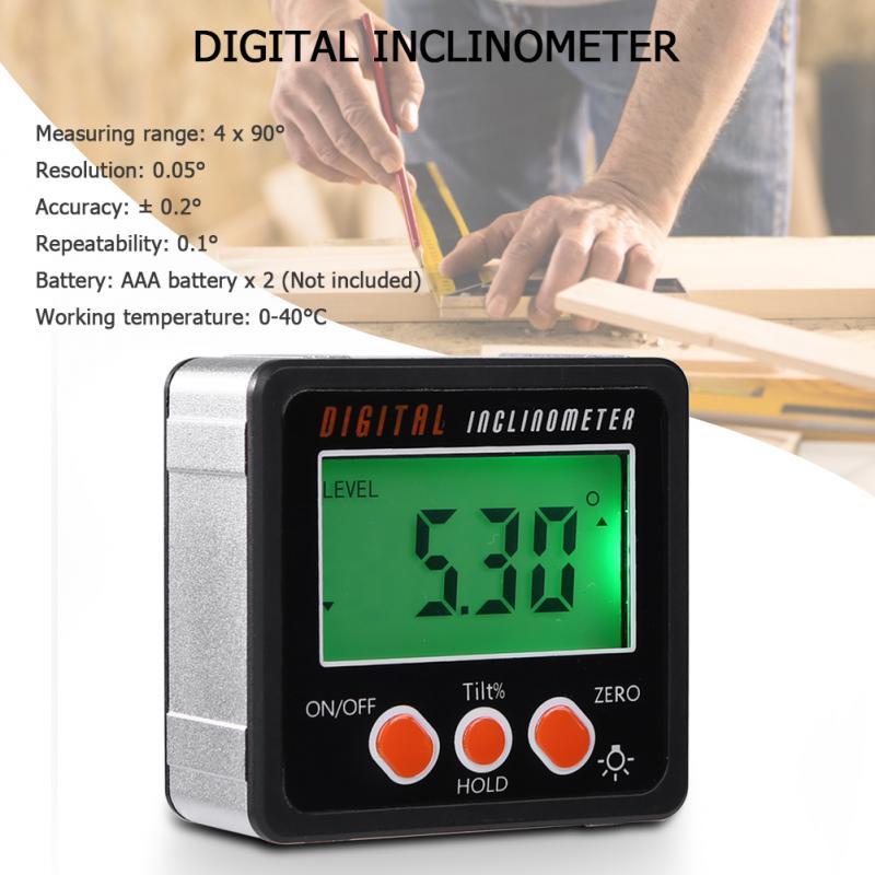 360 grados Mini Digital Protractor inclinómetro caja de nivel electrónico medidor Digital ángulo inclinómetro ángulo regla Digital