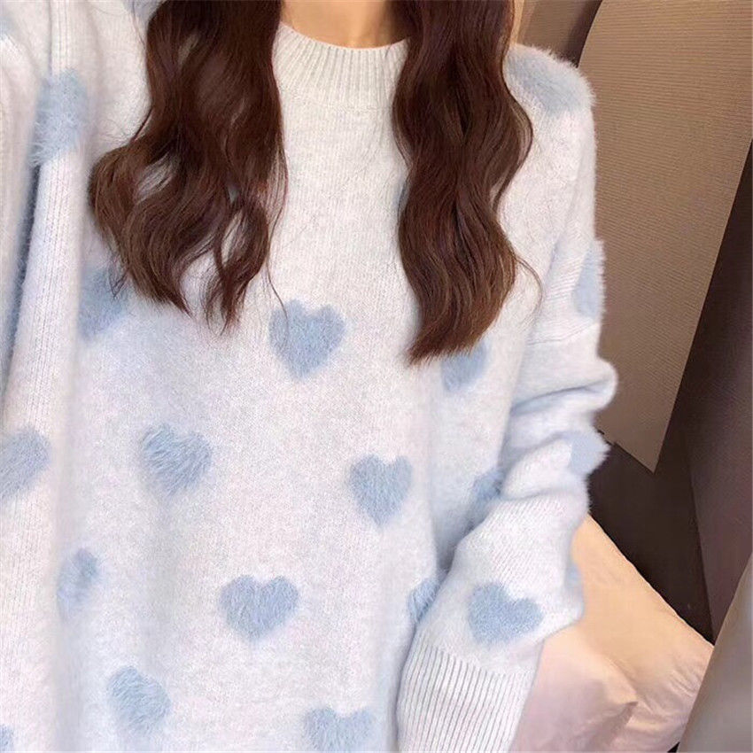 Sweater women's loose jacket fall winter love pullover long sleeve lazy style net red fashion retro knit top  New hot sale  0000 enlarge