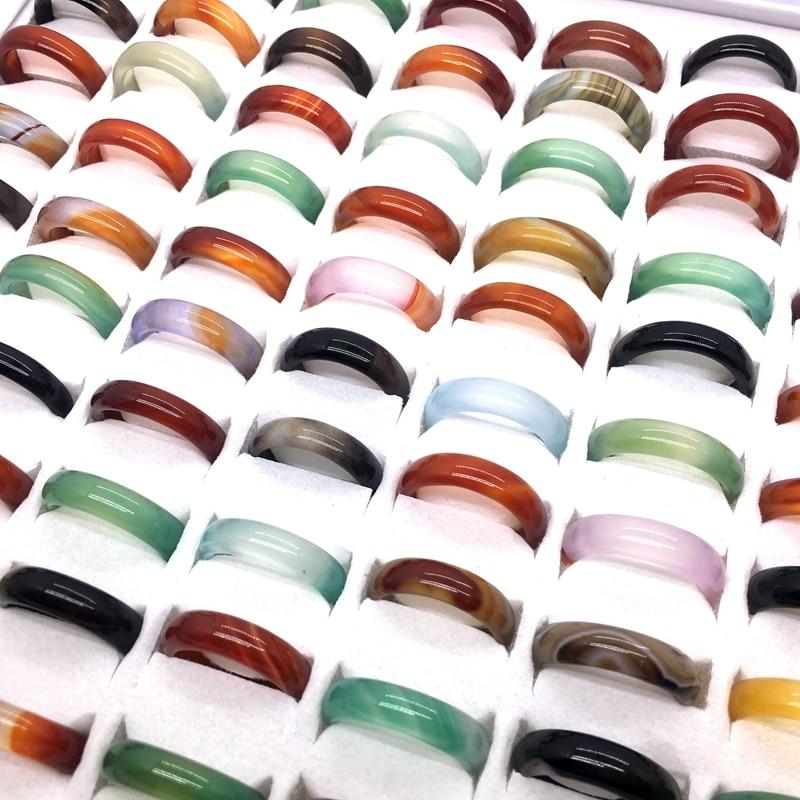MixMax 100 قطع المرأة خواتم الموضة 6 مللي متر الملونة العقيق العصابات المجوهرات بالجملة مجموعة هدايا الحفلات مزيج الألوان